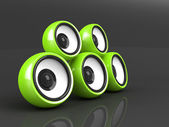 Green audio system on the grey background — Stock Photo
