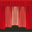 Theater stage and curtains — Vector de stock #4636928