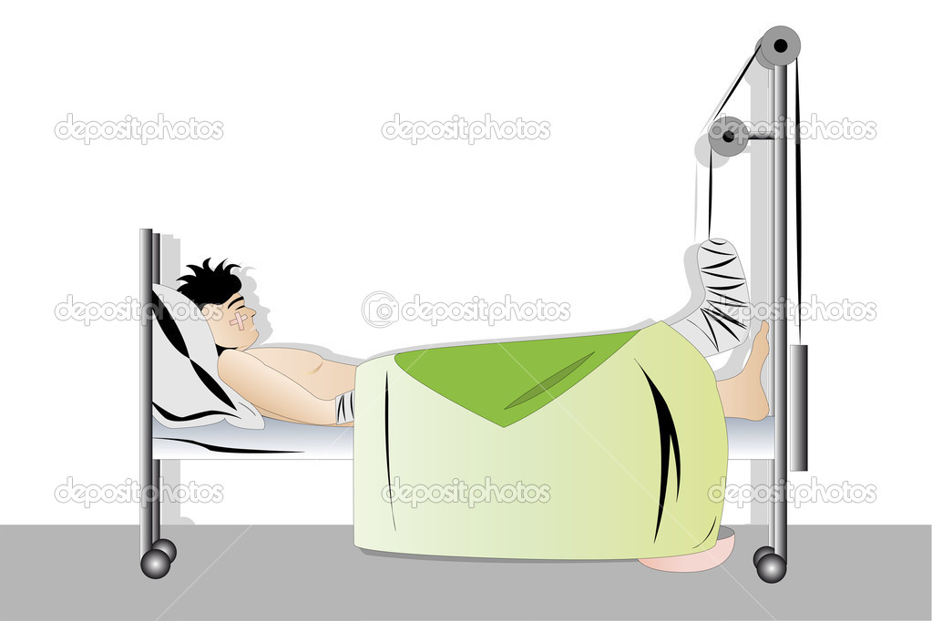 Vector illustration of sleeping man with fracture leg — Stock Vector #4894482