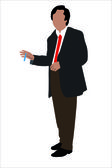 Vector illustration of businessman with a pan in a hand — Stock Vector