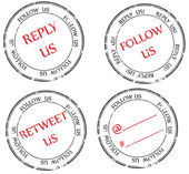 Set of stamps to Twitter: follow, reply, retweet — Stock Vector