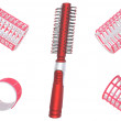 Hair curlers and hairbrush. — Stock Photo