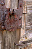 Rusty Padlock on Shabby Gate — Stock Photo