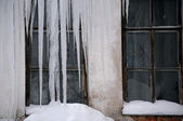 Windows of Uncared House in the Winter — Stock Photo