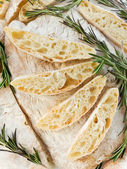 Homemade italian bread Ciabatta with rosemary. Viewed from above. — Stock Photo