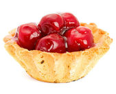 Cake with Fruit cherry isolated on white — Stock Photo
