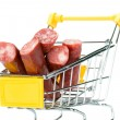 Salami sausage in the shopping cart — Stock Photo