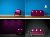 Set of images of beautiful simple interiors — Stockfoto