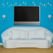 Sofa with sconces and LCD tv — Foto Stock