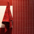 Red towel hangs in a bathroom — Stock Photo #5045690