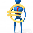 Royalty-Free Stock Photo: 3d person with a gold euro sign.