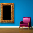 Purple chair with modern picture frame in blue minimalist interior — Stock Photo