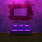 Purple minimalist interior — Stock Photo