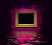 Frame with splashes on a dark wall — Stock Photo