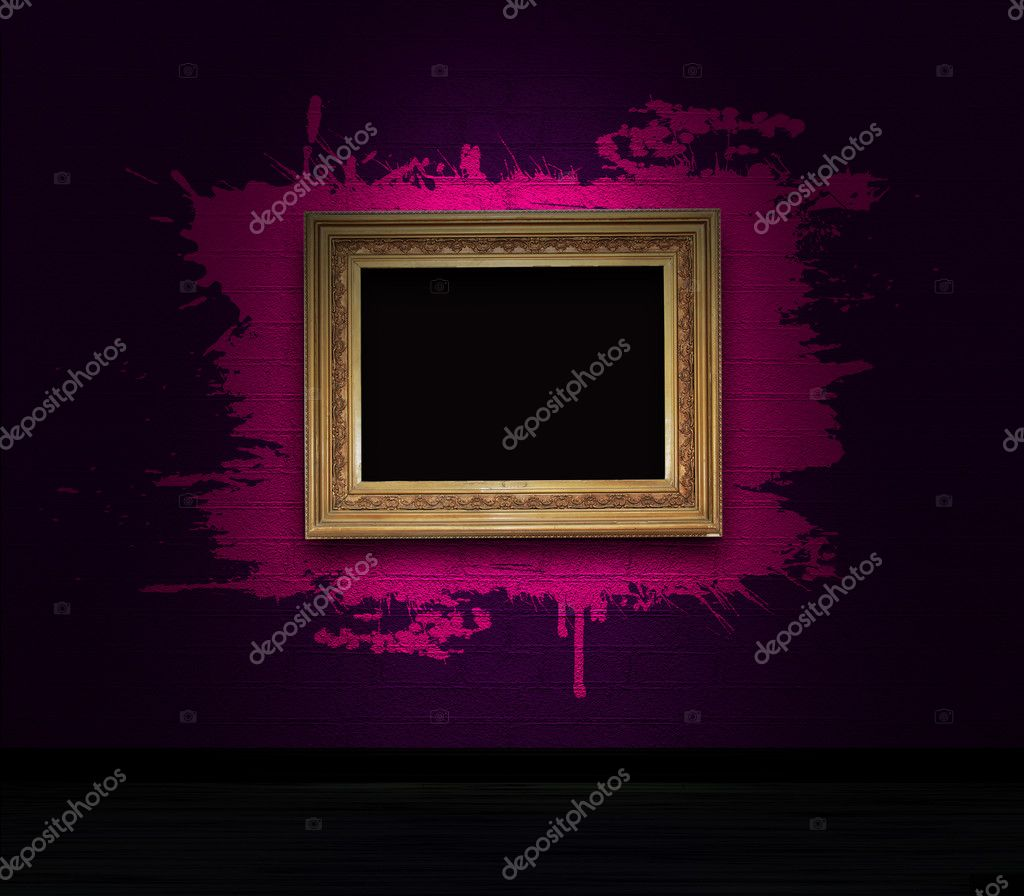 Frame with splashes on a dark wall — Stock Photo #5116050