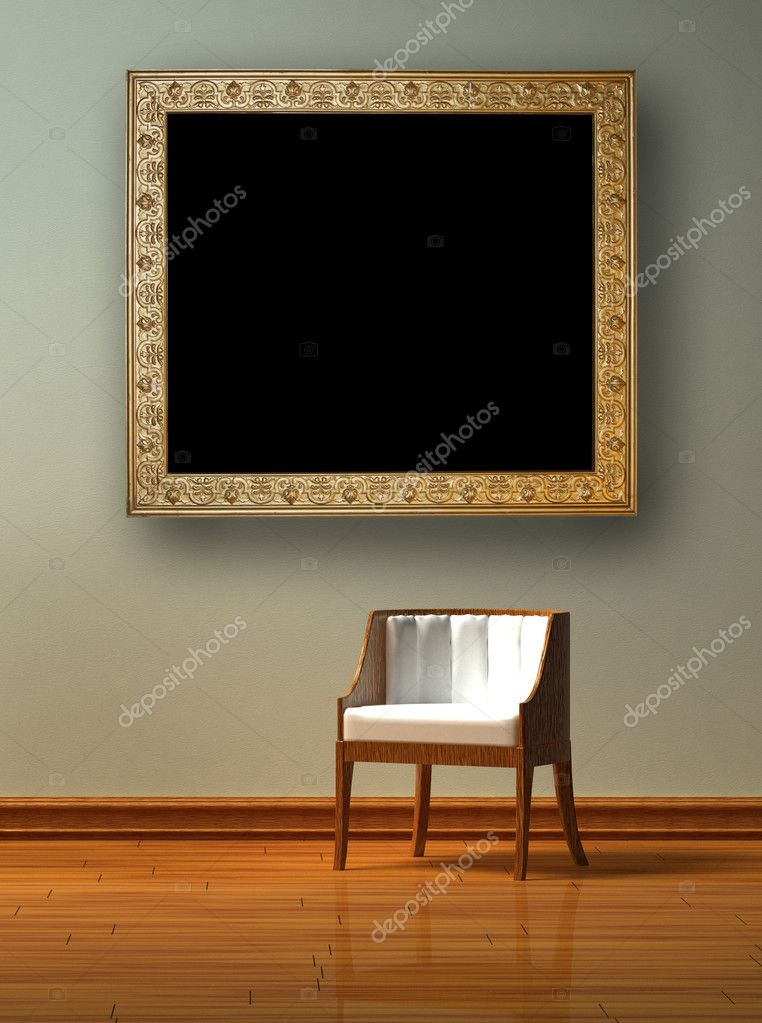 Alone chair with antique picture frame in minimalist interior  — Stock Photo #5116216