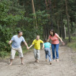 Stock Photo: Family of four walking