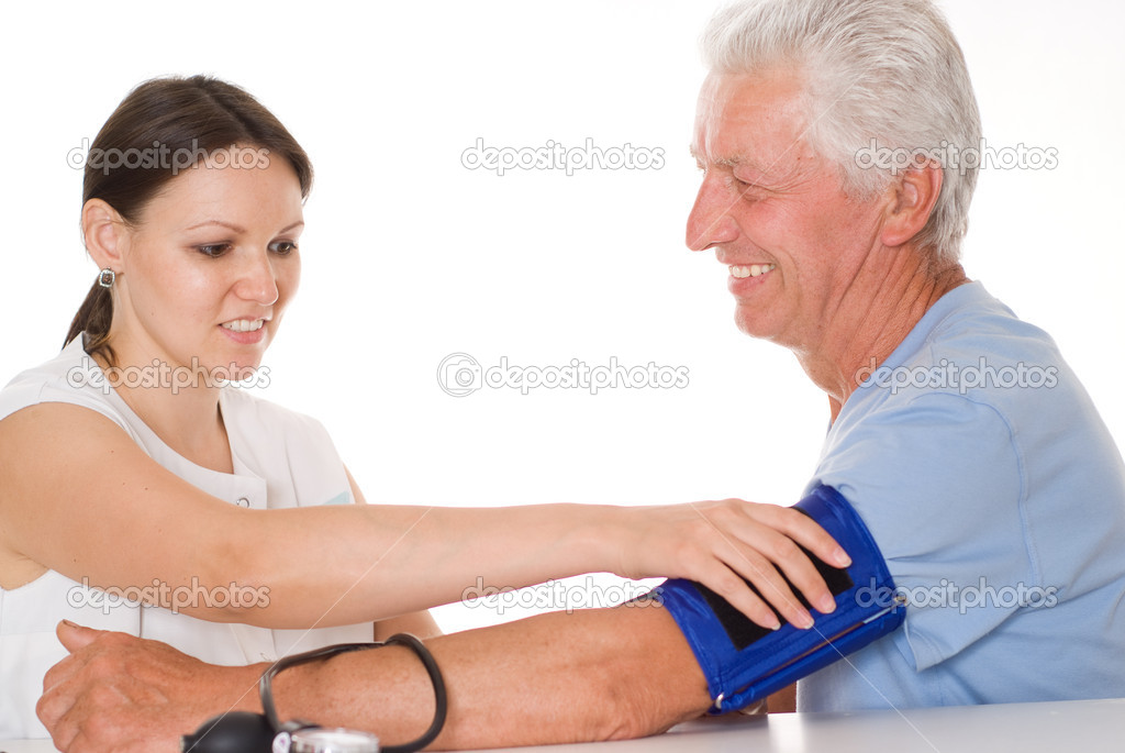 Young woman doctor talk with old patient — Stock Photo #5199629