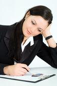 Milá dívka, práce v kanceláři — Stock fotografie