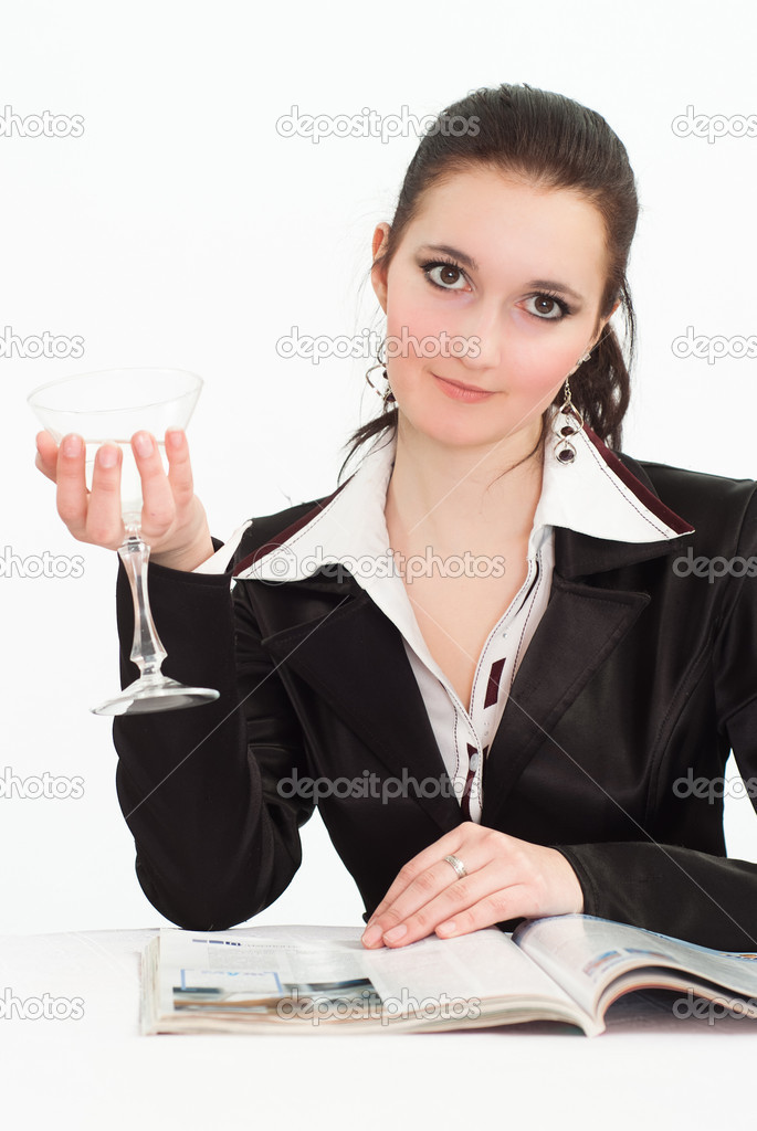 Nice woman in a black business suit  on a white — Stock Photo #5339817