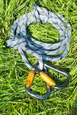 Carabiners and rope — Stock Photo