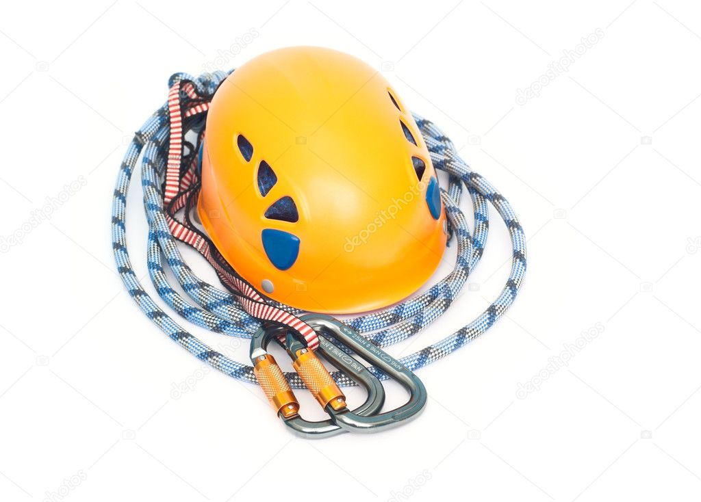 Climbing equipment - carabiners, helmet and rope — Stock Photo #4956156