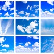 Collage made of many white fluffy clouds — Stock Photo