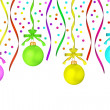 Royalty-Free Stock Photo: The multi-colored dull christmas balls hanging on tapes