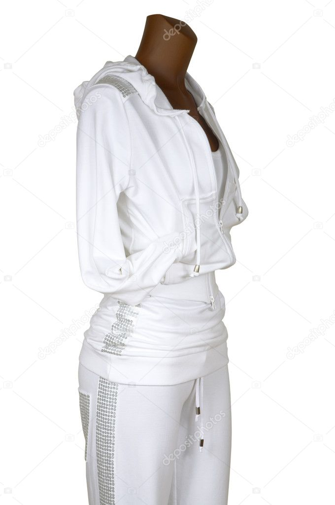 Female sports suit with a hood on a white background — Stock Photo #4227498