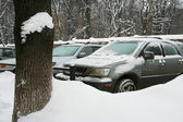 Cars in the winter — Stock Photo