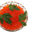 Dish with red caviar — Stock Photo