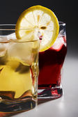 Cocktail, a lemon and an ice — Stock Photo