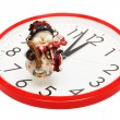 Toy snowball and clock — Stock Photo