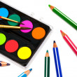 Paints and color pencils — Stock Photo #4551032