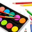 Paints and color pencils — Stock Photo #4551555