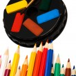 Paints and color pencils — Stock Photo #4555518