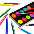 Paints and color pencils — Stock Photo #4555712