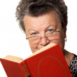 Woman with the red book — Stock Photo