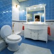 Blue bathroom — Stock fotografie