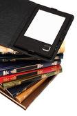E-book and books — Stock Photo