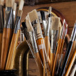 Brushes in the studio - Stock Photo