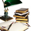 Books and lamp — Stock Photo