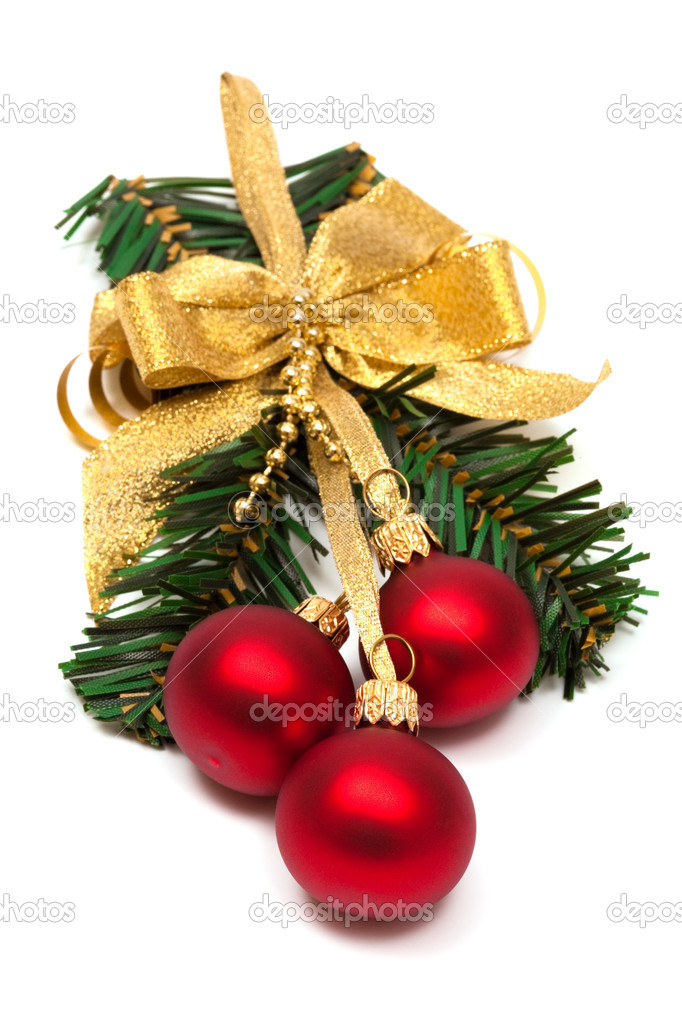 Christmas ornament with ball on a white background  Stock Photo #4908885