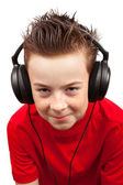 Boy with freckle and headphones — Stock Photo