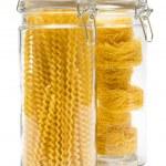 Pasta in glass jar — Stock Photo