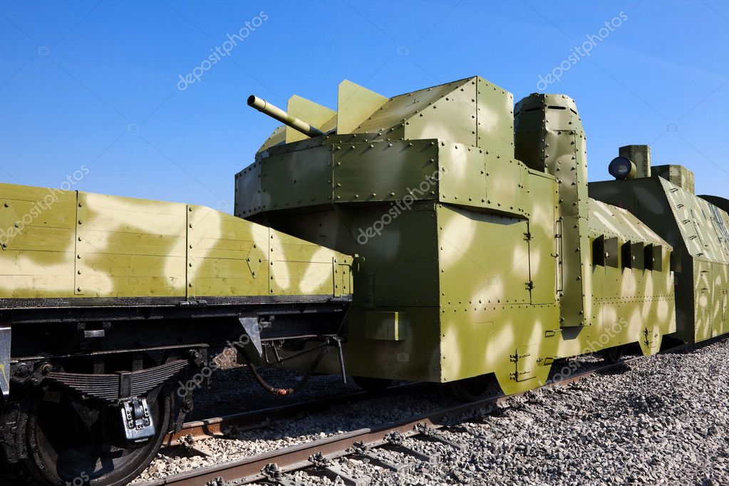 Powerful armored train against the blue sky — Stock Photo #5199328