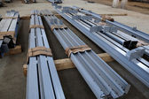 New welded metal beams — Stock Photo
