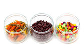 Food in glass jars — Stock Photo