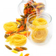 Pasta in glass jar — Stock Photo