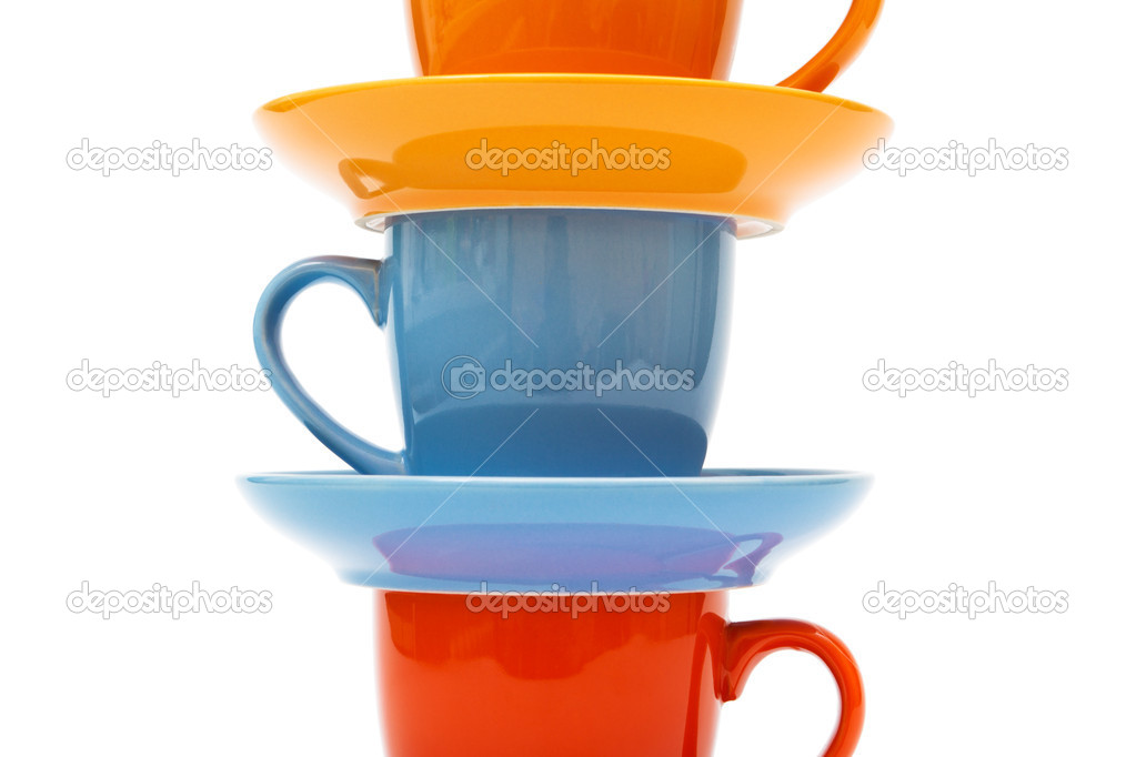 Coffee cups and saucers on a white background  Stock Photo #5326411